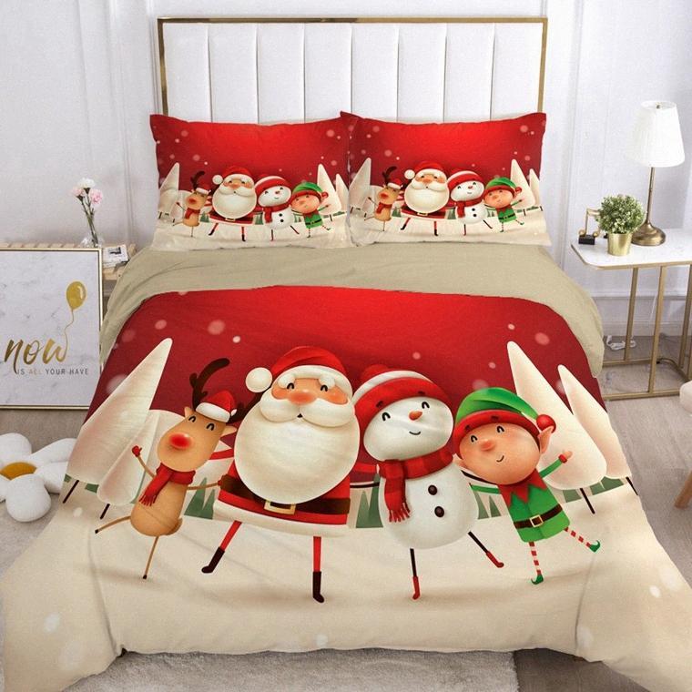 Housse de couette EUR Royaume-Uni Taille Cartoon Literie pour enfants bébé enfants Blanket Housse de couette Lit Linings Belle Père Noël 6DLv #