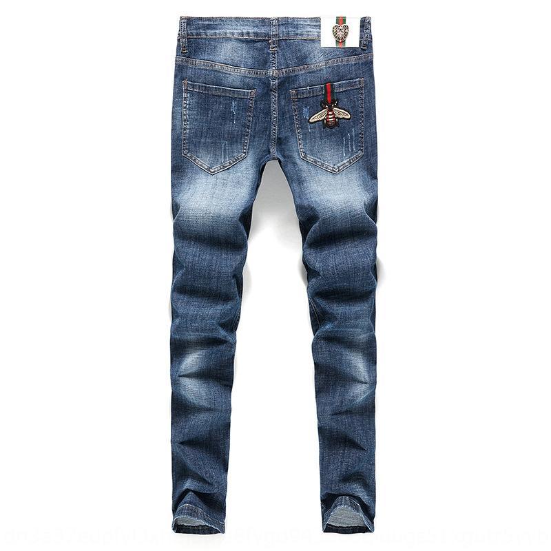 jeans e jeans da uomo Light Blue Bee uomo allungano molla sottile fit piedi e l'estate