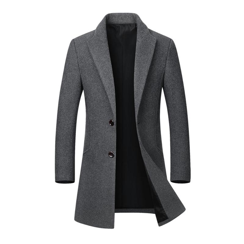 Abrigo de invierno largo y grueso de los hombres chaqueta de lana para hombre del collar del soporte de las chaquetas Casual Erkek Mont Palto Chaquetón abrigo de lana abrigos Parka 4XL