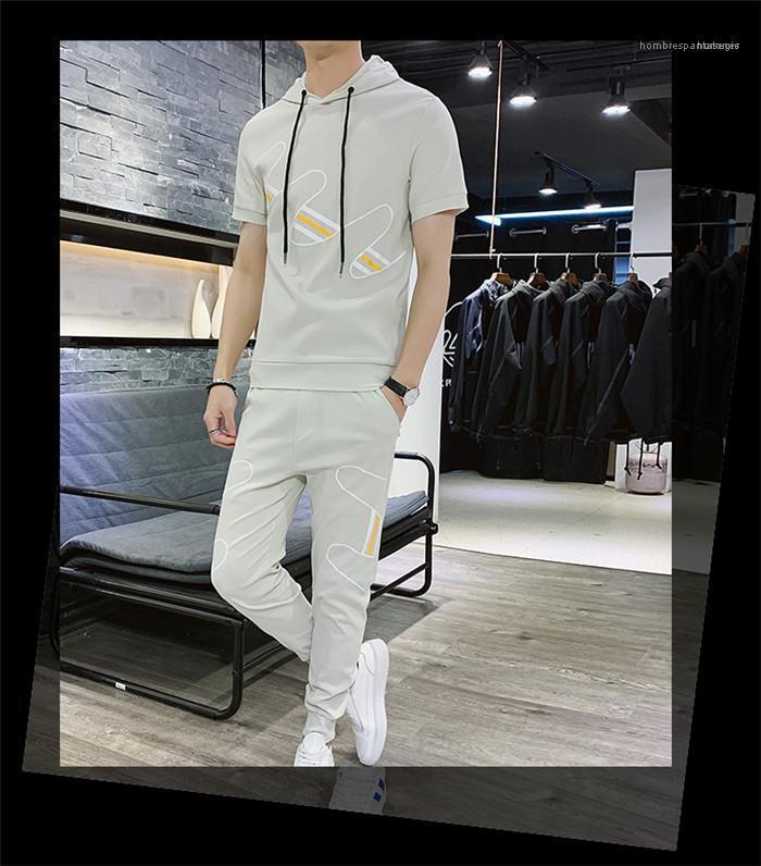Moda Spor Gevşek Gençler 2PCS Kısa Kapüşonlular Suits Running Erkek Giyim Yaz Erkek Tasarımcı Baskı eşofman ayarlar