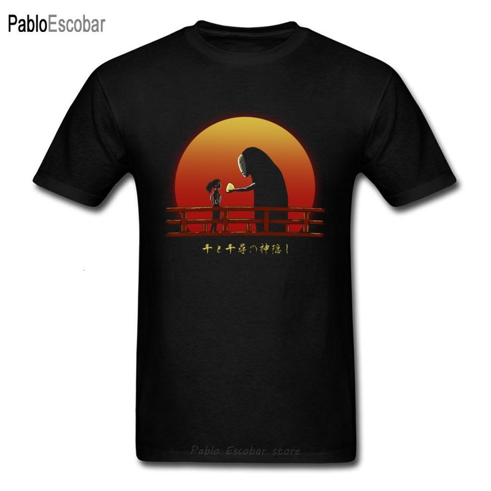Nuovi uomini di arrivo maglietta Giappone Anime Tee Shirt Spirited Away Top No Face Chihiro On Sunset Famiglia T-shirt in cotone 100%