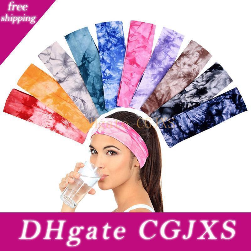 2018 teñido anudado de las vendas del estiramiento del algodón vendas elásticos Hairband Yoga Para los adolescentes niñas Mujeres jóvenes, colores surtidos