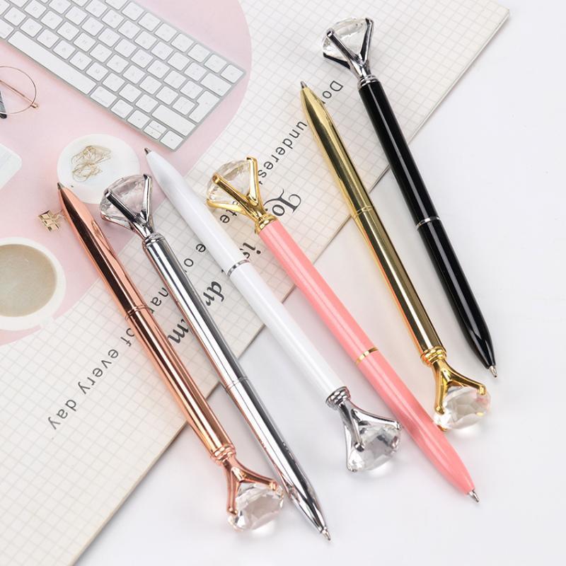 1pc Big Diamond Gem cristal Pen Stylo à bille Anneau Bureau mariage métal anneau Roller Ball Noir Rose Or Argent