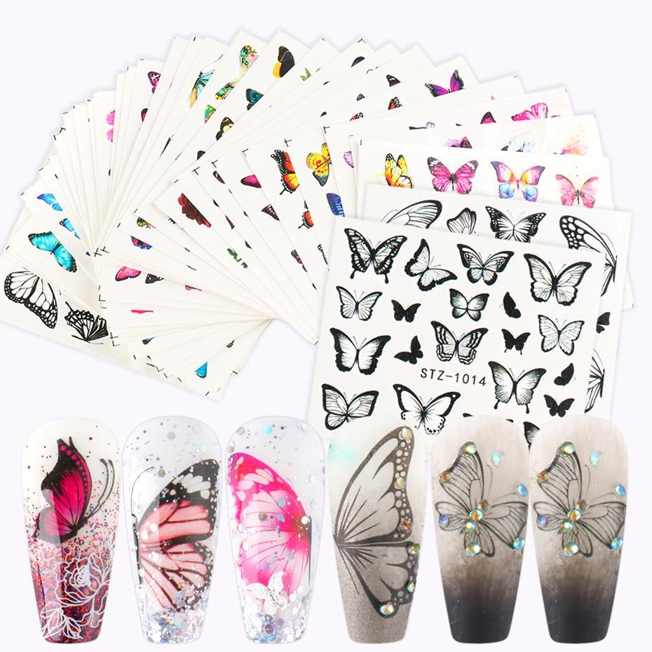 30 pcs borboleta flores unhas adesivo conjunto água transferência nail art slider decalques folhas de imagem envoltórios para manicure stz983-1017
