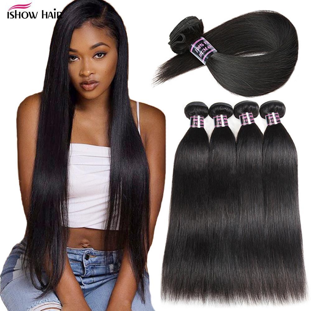Ishow Mink Brazilian Body Straight Loose Deep Water Human Hair Bundles Unprocessed Human Hair Extensions Peruvian Body Hair Weave Bundles