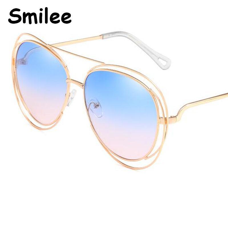 Gradient Nouveau métal Tendance Tendance Surround Femmes Rim pour lunettes de soleil Designer surdimensionnés Blue Femmes Lunettes Pink Sun 2020 Cercle UV400 Hmkll