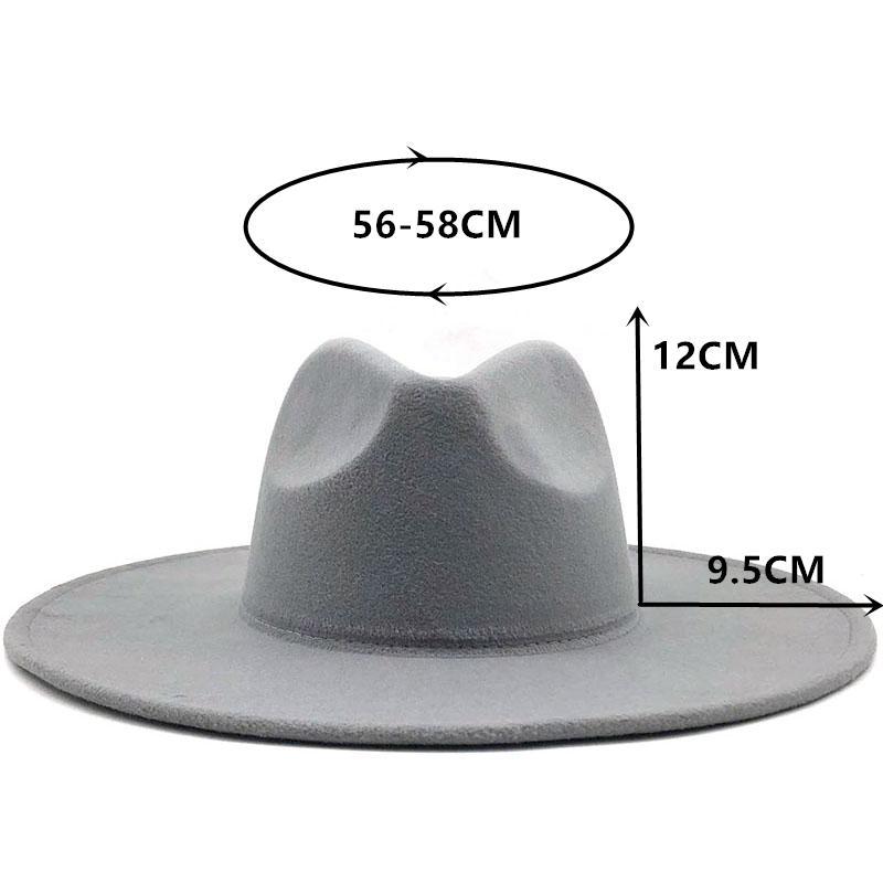 2020 الواسعة الحافة قبعة فيدورا للنساء الصلبة لون الصوف ورأى قبعة للرجال خريف وشتاء بنما غامبل الرمادي جاز كاب