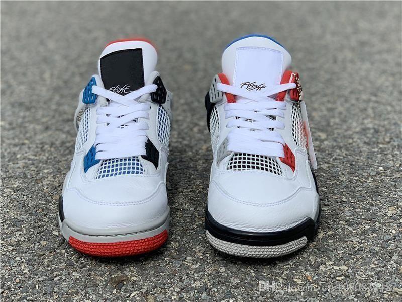 2019 Otantik Hava OG 4 Ne Erkekler Basketbol Ayakkabı Beyaz Çimento Ateş Kırmızı Askeri Mavi Karışım Retro Mans Spor Sneakers CI1184-146 ile Kutusu