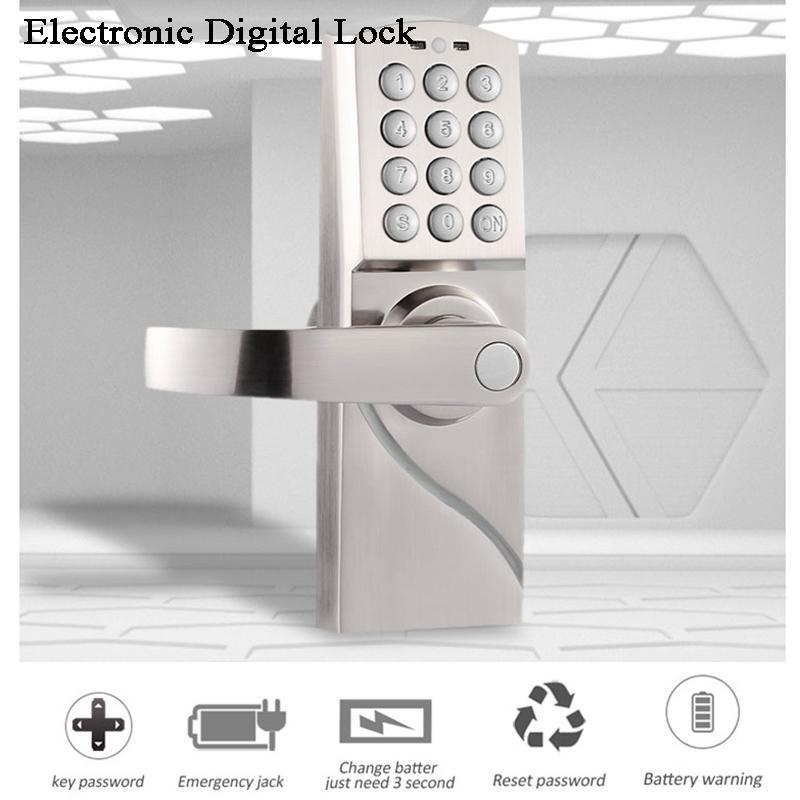 Home Electronic Digital door Lock Gate opener Code/Password/Key Battery Handle Office/Garden/House/loft Iron Wooden door Lock