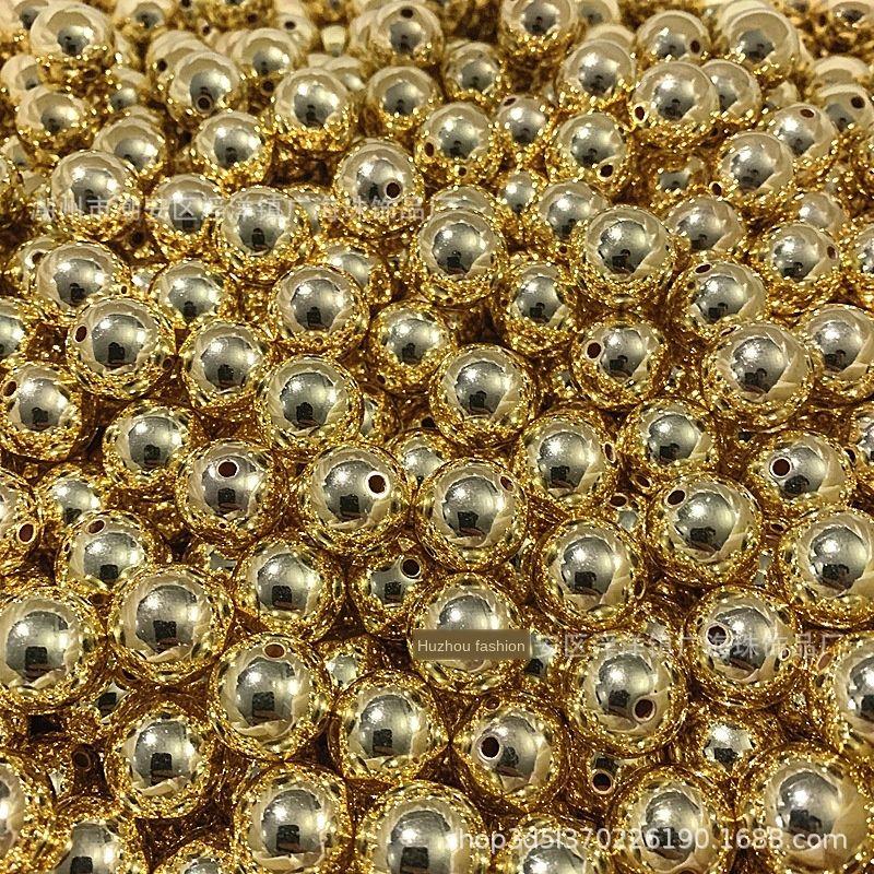 аксессуары гальваническим DIY круглые бусины пластиковые золотые 4мм-16мм бисер поделки ручной работы аксессуары серебра риса цвет D0WWr