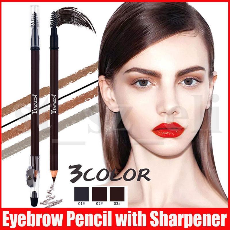 Teayason Eye Makeup Perfect Eyebrow Pencil with Sharpener Eye Brow Tint Enhancers Pen with Bursh 3 Colors