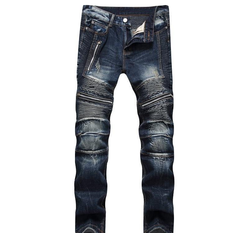 Newsosoo Casual Motocycle Hombre Jeans Slim Fit Bike plisado Vaqueros pantalones para male Lavado Multi cremallera pantalones vaqueros