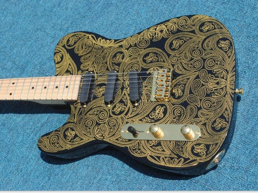 Custom Left Handed James Burton Signature Tele Gold Paisley TL Electric Guitar Maple Neck & Fingerboard, SSS 3 Single Pickups, Gold Ha Ryxc#