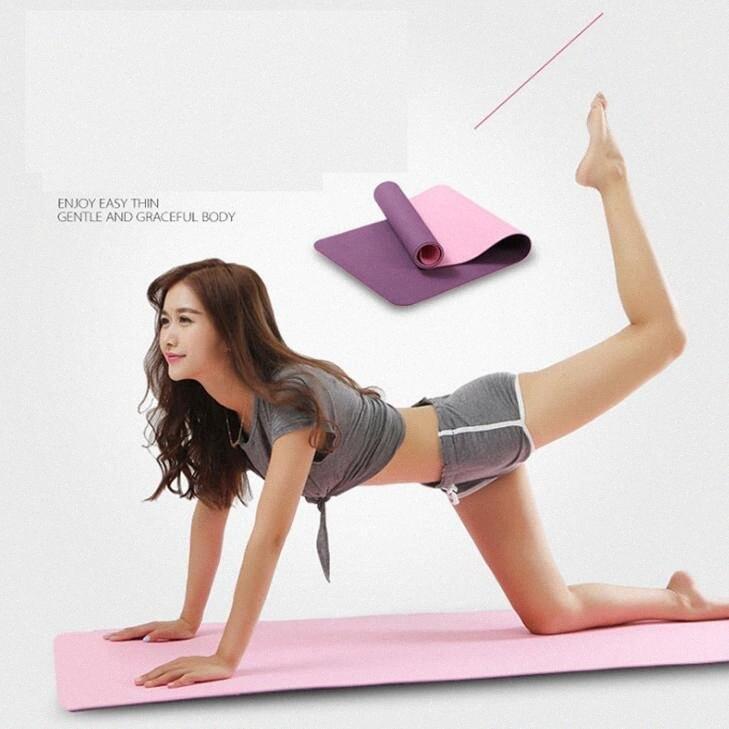 Fabrika doğrudan tpe yoga minderi çok fonksiyonlu spor mat başlayanlar kaymayan paspas 8 / 6mm düz destek yastığı WxKV # tatsız