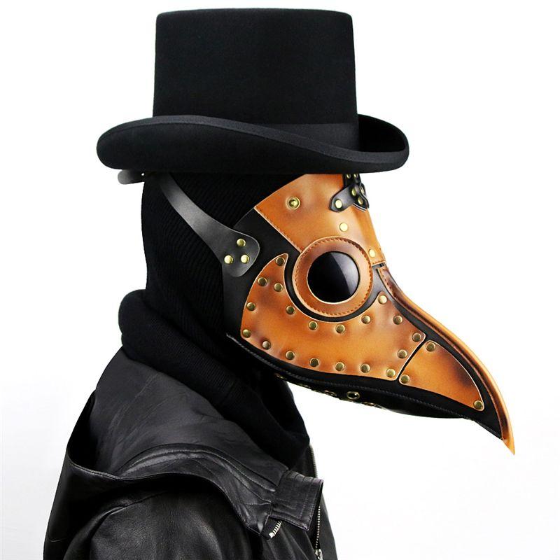 الطاعون طبيب قناع، الأنف Steampunk طويل المنقار الطيور قناع، عيد جميع القديسين حلي الدعائم قناع جلد لحزب براون JK2009XB