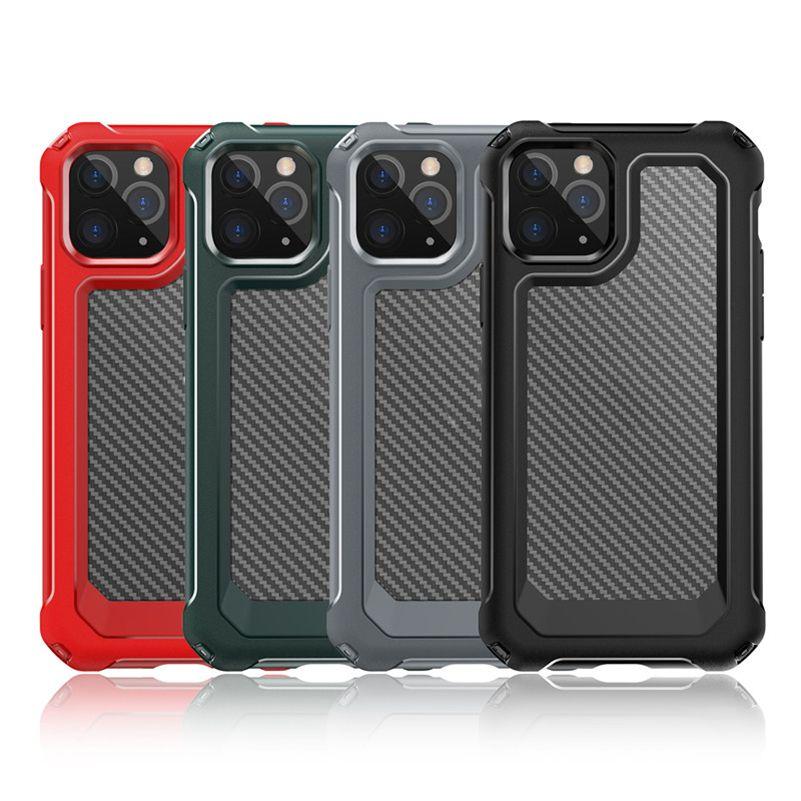 وصول جديدة من ألياف الكربون القضية ضد الصدمات للآيفون 12 XS برو 11 ماكس XR 6 7 8 زائد كريستال شفافة موبايل تليفون حقائب DHL مجانا