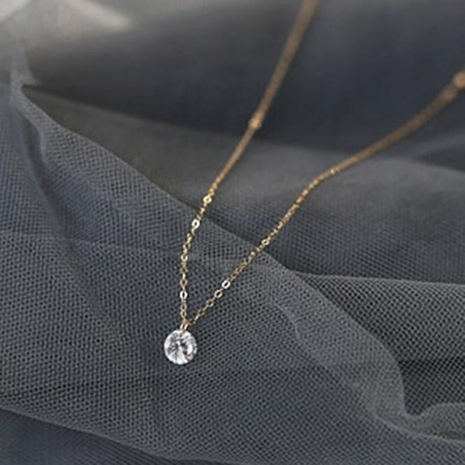 Délicat 6 mm CZ Charm Rose Gold Chain Collier pour filles Véritable 925 Sterling Sterling Clavicule Collier Collier Collier Bijoux en gros