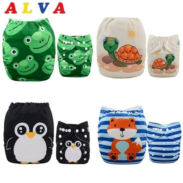 ALVABABY 4pcs/set Diapers Adjustable Reusable Baby Cloth Nappy Shells Without Insert C0922