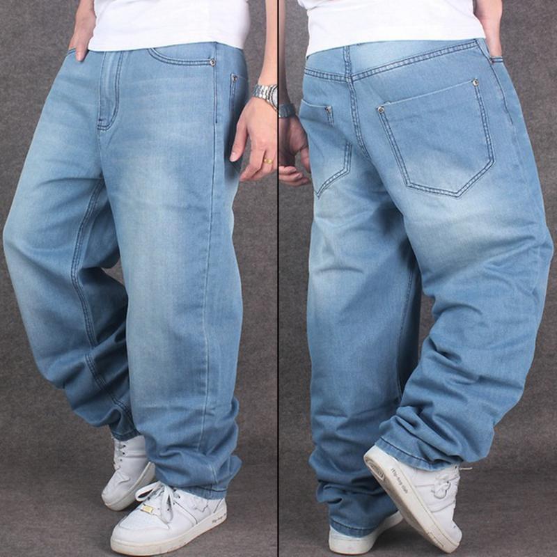 Alta calidad de los hombres de los pantalones de BBOY hip-hop pantalones vaqueros para hombre de la calle de HIPHOP de baile pantalones vaqueros agua de lavado de algodón de la cremallera SZ30-46