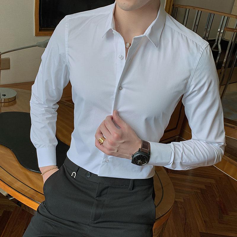 2020 Новая мода хлопка с длинным рукавом Solid Slim Fit Мужской Социальный Повседневный Business White Black Dress Shirt 5XL 6XL 7XL 8XL