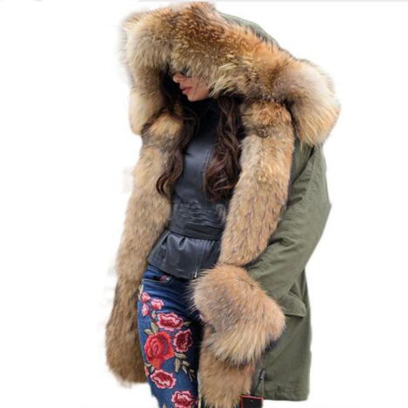 2020 새로운 겨울 여성 대형 너구리 모피 칼라 후드 실제 여우 모피 라이너 코트 블랙 육군 녹색 파카 착실히 보내다 겨울 자켓 T200831