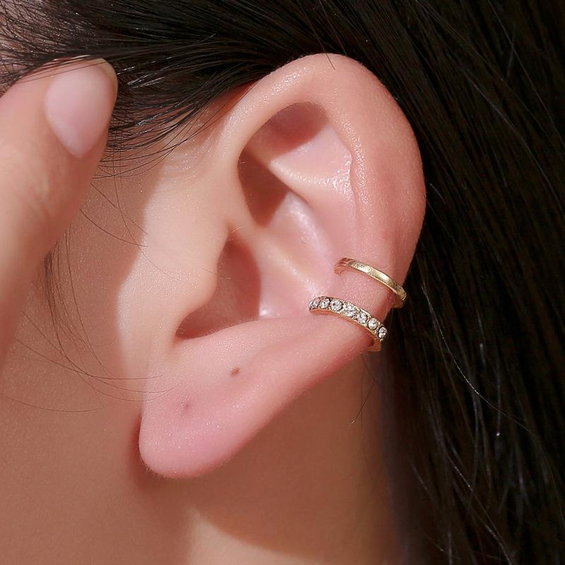 Vintage Punk Crystal Geometry Ear Clip Cuff Wrap Earrings For Women Non Pierced Clip On Silver Color Women Earrings Jewelry