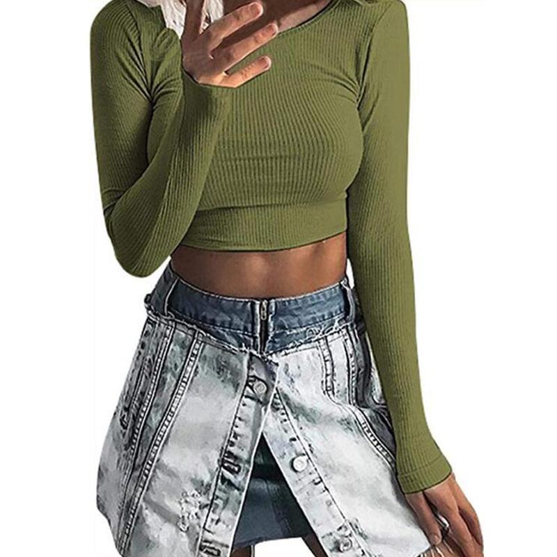 Frauen T-Shirt Frauen Langarm T-shirts Gestrickte Rundhals Slim Crop Tops Mode Frühling Herbst Feste Stricken T-Shirts Weiblich