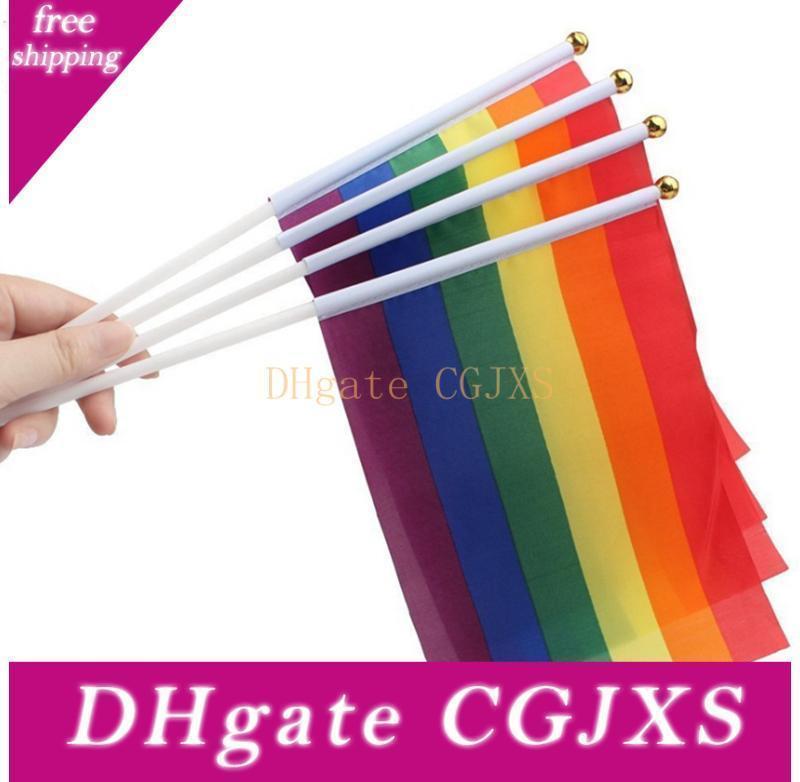 Plástico arco iris del palillo bandera de la mano / banderas del coche / de la bandera americana Lesbian Gay Pride que anima las competiciones, los productos 14 * 21cm