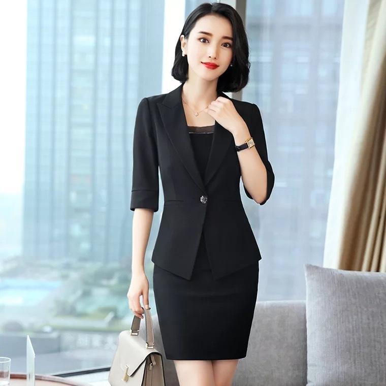 svSEA YLS1302 col tailleur coréenne pour femmes mode femmes costume noir de style formel OL professionnel usure blanc tempérament noir