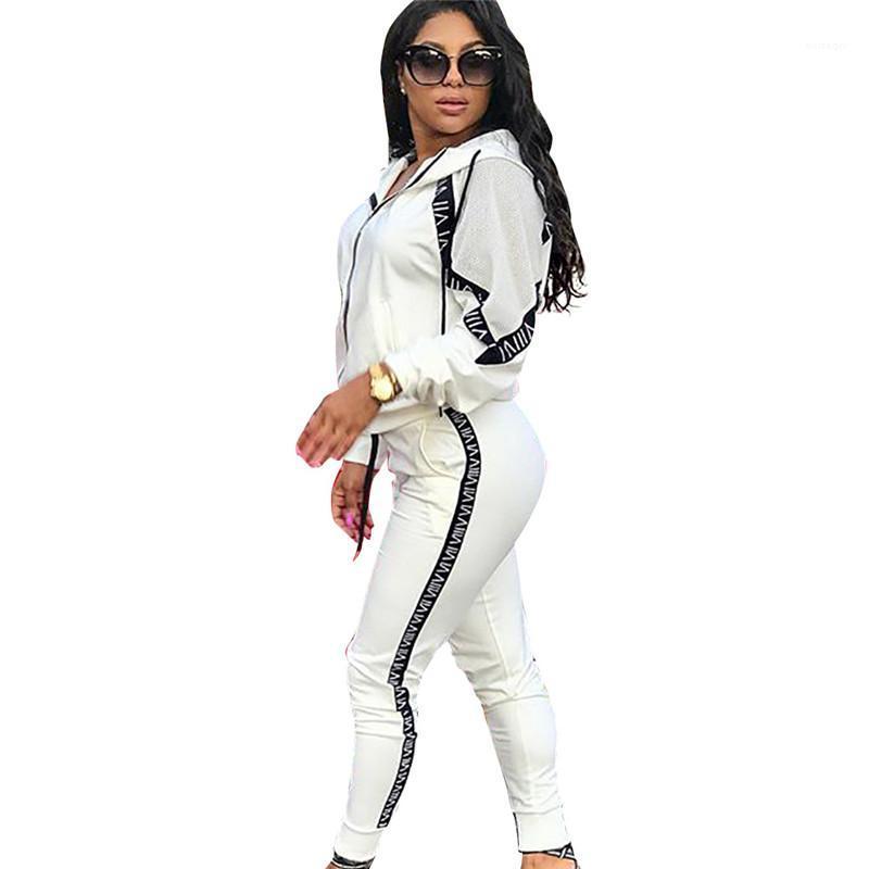Kadın Harf Baskılı Spor Seti Moda Bayan 2pcs Seti Kapşonlu Bayan Kasetli Eşofmanlar Tasarımcı Casual