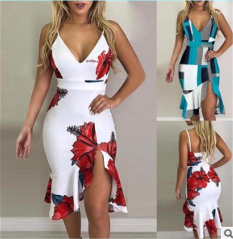 Vestidos Mujer atractiva ropa de color de contraste florales camisola sirena Dividir vestidos para mujer Desinger volante Breve ocasional sin mangas con cuello en V