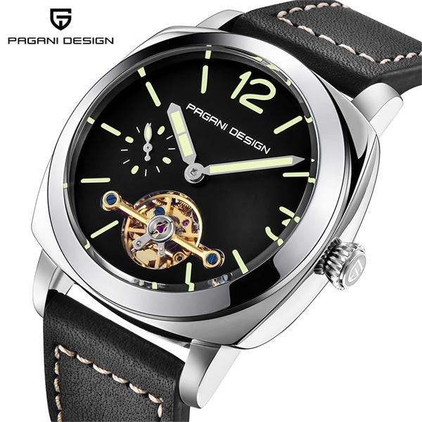 PROJETO PAGANI Luxo Tourbillon Relógios Mecânicos Resistente à água 30m em Couro Moda Casual Negócios Relógio Automático 0924