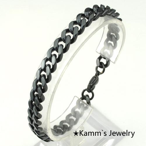 ingrosso catena nera della moda di New 316L Bracciale in acciaio inox per la Mens gioielli, Link, KB013 all'ingrosso