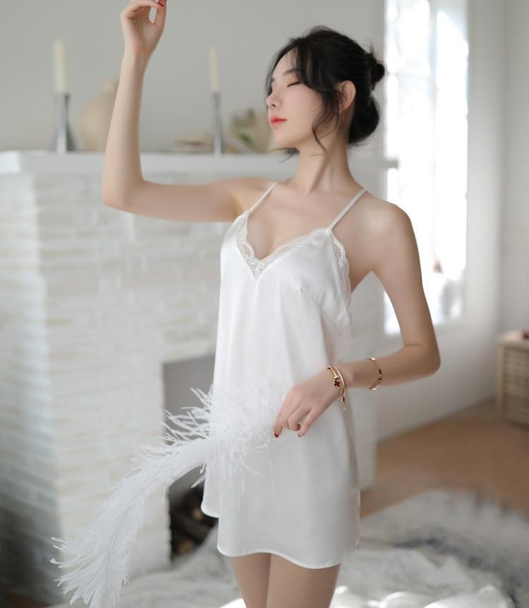 YfvHY profundo V ropa interior atractiva de las mujeres sin respaldo Mengya camisón de satén atractivo nueva honda de los pijamas de la ropa interior de encaje pijamas camisón de tirantes