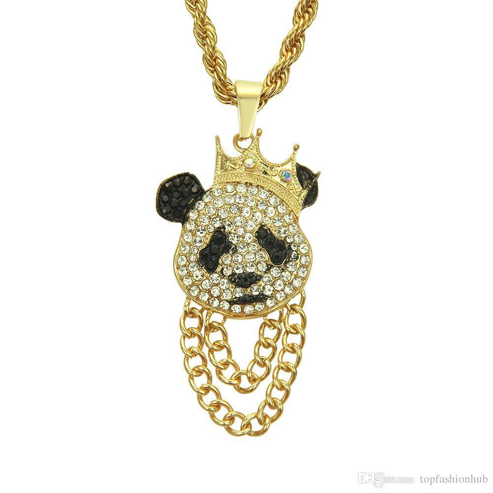 Hip Hop Crown Panda Pendant Necklace Iced Out Cuban Link Chain Mens Women Rock Punk Accessories