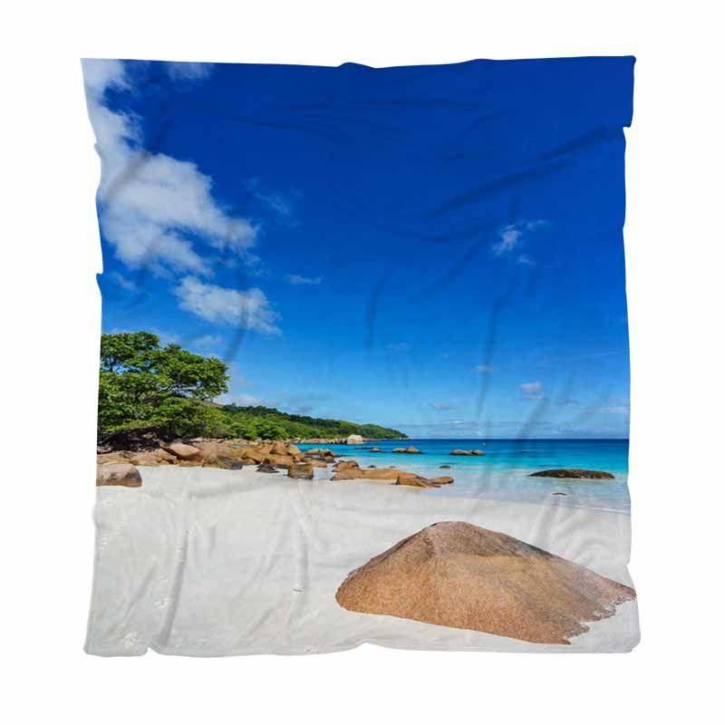 De playa de lujo super suave manta del tiro imponente de Paradise Beach En Anse Lazio Praslin Couch / Silla / asiento de amor / Manta autocaravana