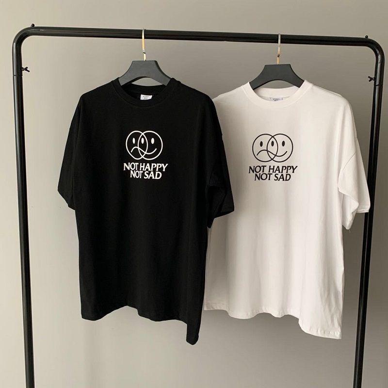 2021 Europa França Paris Vetements loja não FELIZ NÃO Bordado SAD camiseta Moda Mens Camisetas femininas roupas casuais de algodão T