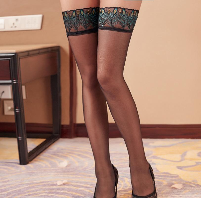 AEW0E atractiva del cordón transparente tentación atractiva línea de ropa interior de encaje de pavo real vertical de las medias de las mujeres medias largas negras