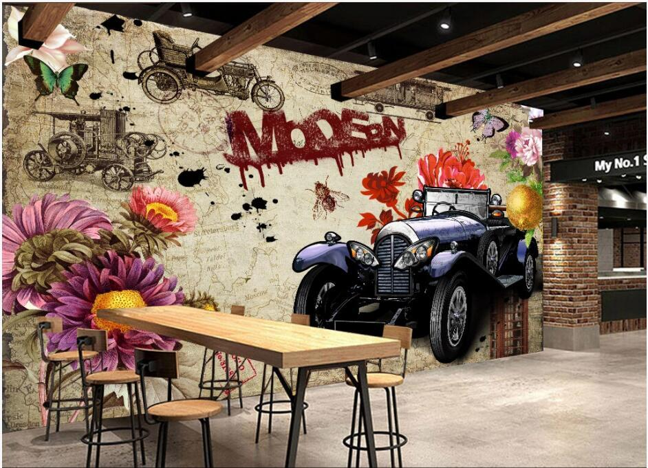 3d papel de parede personalizado Photo Mural murais de parede 3d quarto retro carro do vintage Doodle fundo decoração Home vivendo europeus Papel de parede 3 d