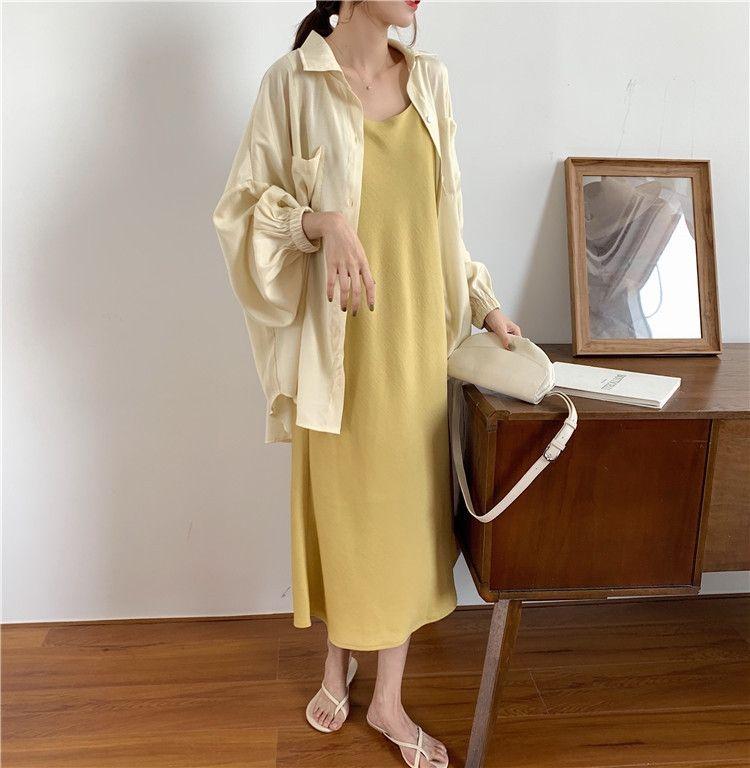gonna CbPm7 estate della bretella 2020 Sling luce nuova bretella del vestito giallo + polsino della camicia elastica camicia solo colpo protezione solare delle donne