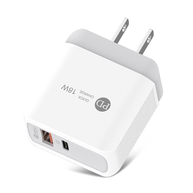 Chargeur rapide 3.0 PD Chargeur 18W USB Type C Téléphone mobile Adaptateur de chargeur pour iPhone Samsung UE Favor Chargeur rapide Dual Port