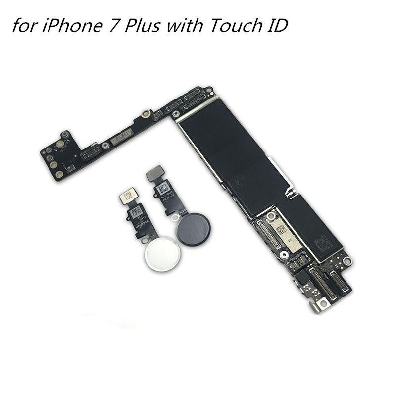 partes móveis da placa-mãe de telefone para iphone 7 mais com Touch ID Desbloqueado Mainboard para iPhone 7 mais Logic Board 1PCS