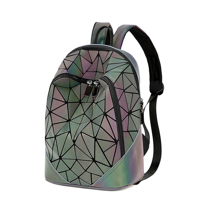Кожа Камера Tag20202020 весной и летом новые Ромб Женская сумка Мода Pu женщин Геометрическая сумка Корейский стиль Лазерная Luminous Большой Capac