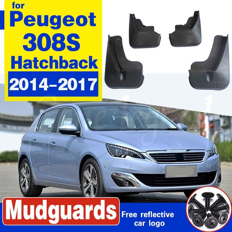 Garde-boue de voiture pour Peugeot 308S Hatchback Pour 2014-2017 Fender Splash Guard bavettes garde-boue Accessoires en plastique souple