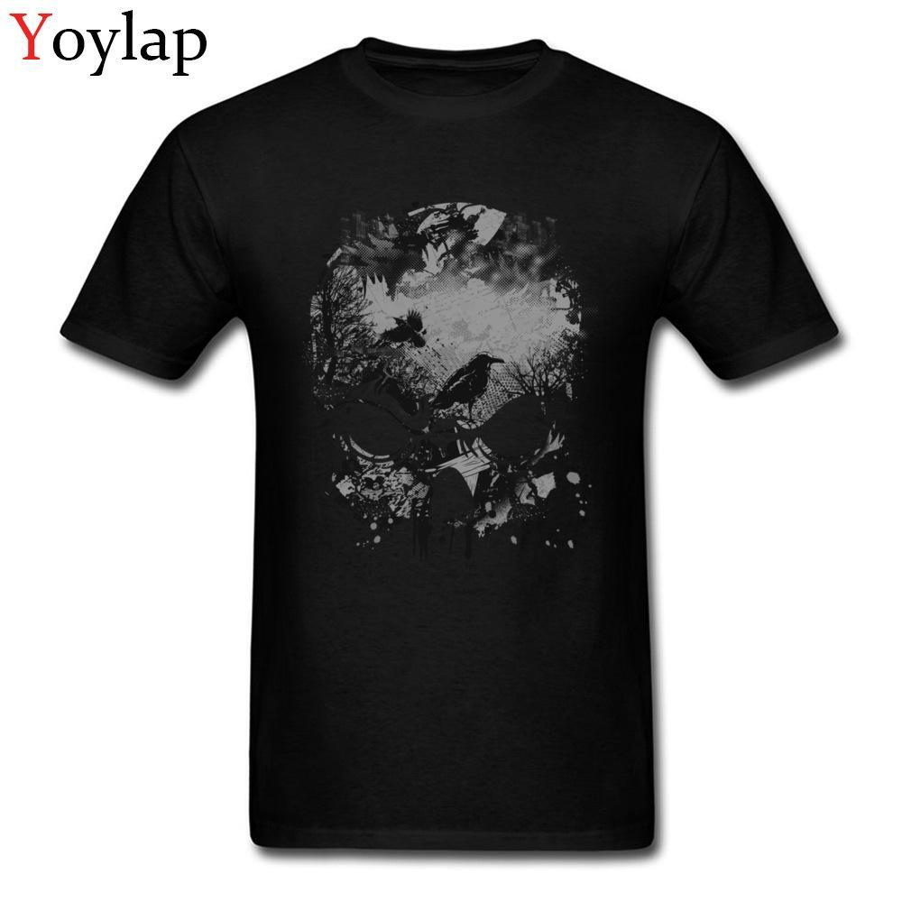 Crâne arbres et le corbeau Wicked grunge du papier froissé uni à manches courtes T-shirt geek Crew pur coton cou pour hommes T-shirts T-shirt d'été