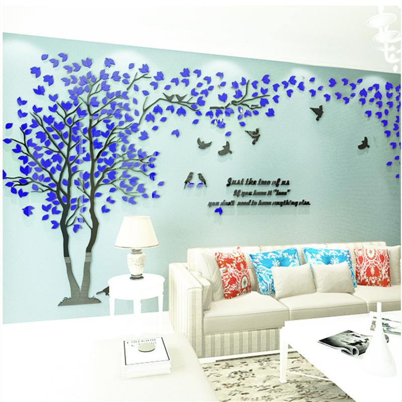 New Color Wall Sticker Papier peint bricolage Grand mur mureaux Art Salon Home Decor Arbre acrylique 3D Sticker pour décorations