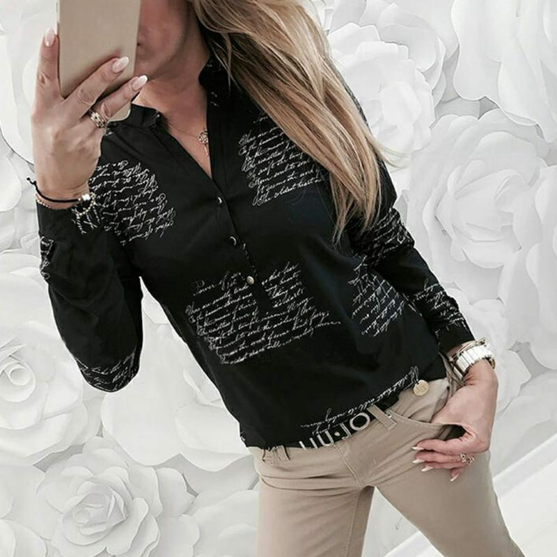 2020 Women Blouse V-neck Letters Printing Button Long Sleeve Shirt Casual Womens Tops Blouses Summer Tunic Tops Blusas Full