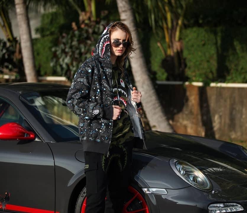 C8NYl пальто бренда пальто Звездное небо свитер Терри тонкий светящейся акулы с капюшоном онлайн популярной парой весной и осенью Tide балахон балахон