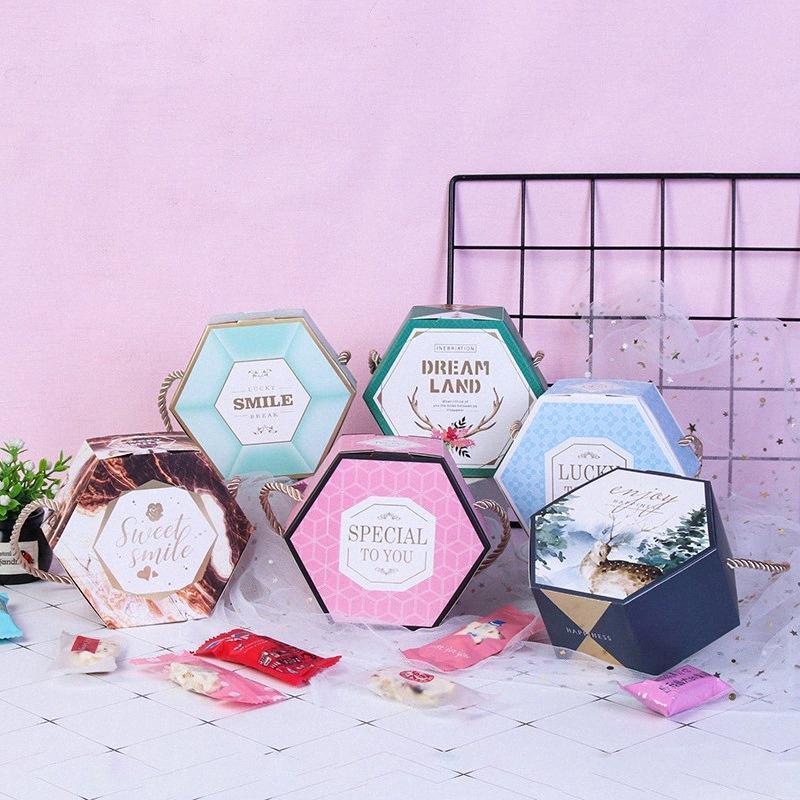 flor partido caixa de doces de presente de papel de embalagem favorece sacos do presente com alças de transporte caixas caixa de embalagem obrigado saco 50pc PA32 #