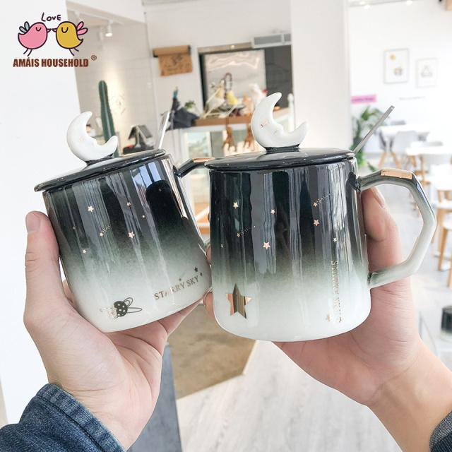 400ml Dream Gradient Black Sky Theme Star Sun Moon Star Belly Coffee Mugs Office Cups With Spoon and Cover
